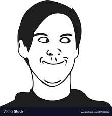 Troll Guy Meme - troll guy meme face for any design royalty free vector image