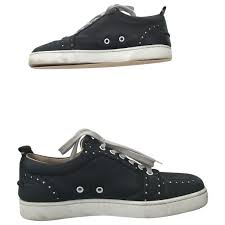 black leather christian louboutin trainers vestiaire collective