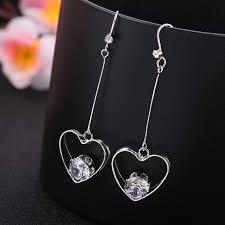 non metal earrings fashion rhinestone clip on earring heart shape triangle