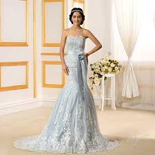 blue wedding dress 2017 light blue mermaid wedding dresses lace strapless