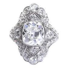 antique art deco diamond engagement ring platinum 2 carat cushion