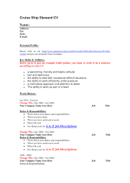 Cv Resume Example by Cruise Ship Steward Cv Resume Template Vinodomia