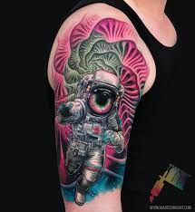 colorful psychedelic astronaut tattoo venice tattoo art designs