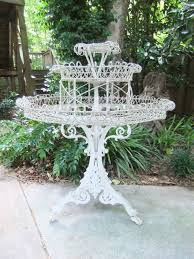 Vintage Iron Patio Furniture - antique victorian white wrought iron plant stand 43