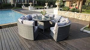 Garden Sofa Dining Set Yakoe 50144 Monaco 10 Seater Round Rattan Outdoor Patio Garden