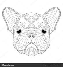 french bulldog puppy head zentangle stylized vector illustration