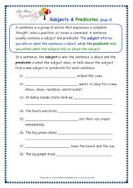 grade 3 grammar topic 38 subjects and predicates worksheets