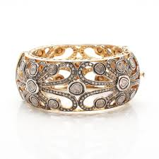 gold bangle bracelet with diamonds images Gold wash on sterling silver diamond bangle bracelet ebth 0&amp
