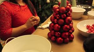 Christmas Topiaries With Lights How To Make A Christmas Ornament Ball Tree Youtube