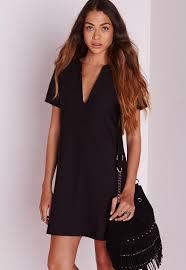 shift dress v plunge shift dress black missguided