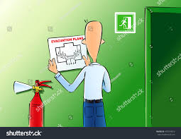 Fire Evacuation Plan Office by Vector Illustration Man Hangs Evacuation Plan Stock Vector