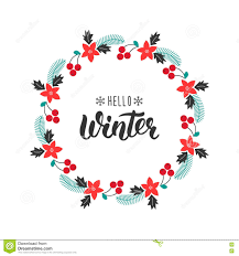 hello winter trendy handwriting quote with greeting wreath with