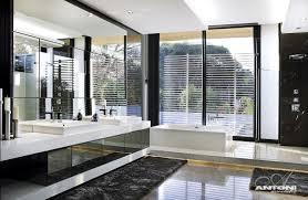 luxury home bathroom design ideas with modern teak wooden vanity