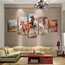 canvas decorations for home unframed 5 panels canvas print painting modern running horse canvas