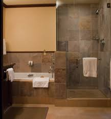 Stainless Steel Shower Stall Stainless Steel And Brown Tiles Wall Small Bathroom Walk In Shower