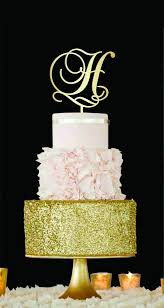 cake monograms letter h cake topper gold monogram wedding cake topper initial