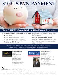 100 down payment financing on select hud homes for sal