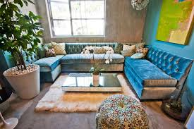 striking tufted sectional sofa in grey color cheerful blue velvet