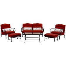 Patio Set 6 Chairs by Oceana 6 Piece Seating Set In Crimson Red With Tile Top Coffee