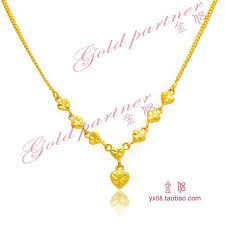 girls gold necklace images Wholesale gold plated heart shaped necklace female south korea may jpg