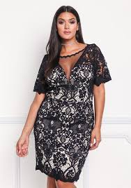 plus size clothing plus size mesh lace embroidered dress debshops
