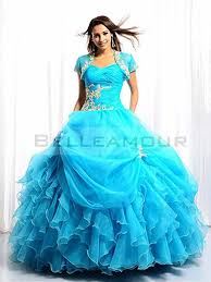 robe de mariã e bleue de mariée bleu ballon volant organza appliques longue plis