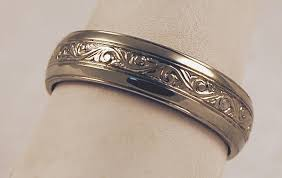 the story wedding band undulating scroll men s band rosestone jewelry