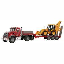 bruder mack granite low loader with jcb backhoe qc supply