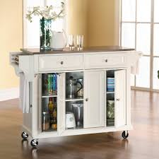 Crosley Steel Kitchen Cabinets by Crosley Kitchen Cart Island With Stainless Steel Top In White