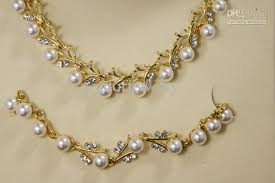 gold pearl necklace sets images Wedding jewelry sets bridal jewelry pearl bridal sets 1373 fake jpg