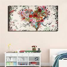 cadre chambre enfant peinture abstrait huile toile tableau aquarelle sans cadre cœur