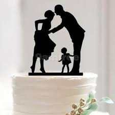 family cake toppers silhouette leaning groom w child acrylic wedding