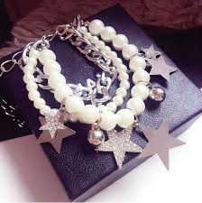 pearl bracelet with silver charm images Pearl bracelet with silver chain love rhinestone star charms gif