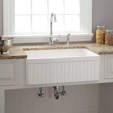 30 baldwin fireclay farmhouse sink fluted apron white kitchen