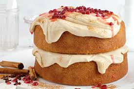 ginger chai cake with ginger cream cheese icing and pomegranate syrup