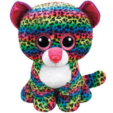 beanie boos dotty multicolored leopard large plush