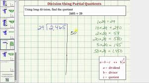 ex division using partial quotient 4 digit divided by 2 digit