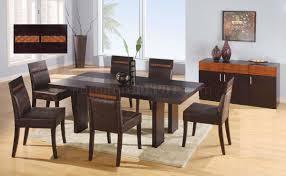 glass modern dining table wenge finish modern dining table w glass inlay table top