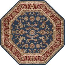 Navy And Beige Area Rugs Tayse Rugs Sensation Navy Blue 7 Ft 10 In Octagon Transitional