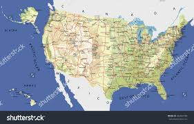 us states detailed map highly detailed map united states cities stock vector 382924789