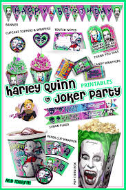 harley quinn and joker party printables squad party pop