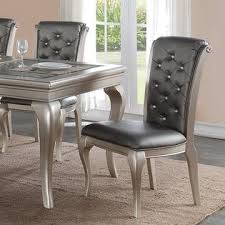 Silver Dining Table And Chairs Esofastore Antique Formal Traditional Silver Finish 7pcs Dining