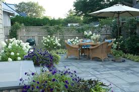 Small Garden Paving Ideas by Decorating Climbing Plants On Wood Fencing Plus Lattice In Small
