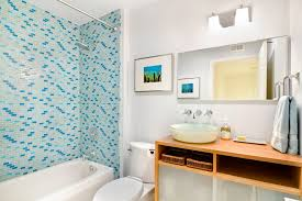 Blue Glass Tile Bathroom - blue mosaic tile bathroom contemporary with above counter sink