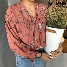 blouse tumbler itgirl shop floral vintage bow collar chiffon summer blouse