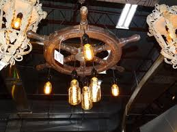Ship Light Fixture Vintage Mariner S Wooden Ship Wheel Hanging Light