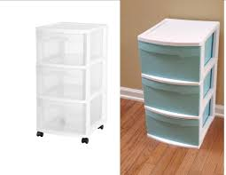 my diy plastic drawer makeover used aqua spray paint to spruce up