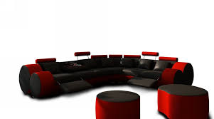 modern black and red leather sectional sofa and coffee table