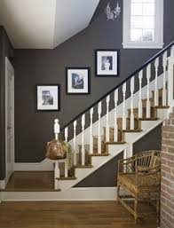 Staining Banister Stairway Love The Dark Stain And Gallery Wall Angela Gray Gray