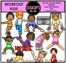 workout kids clip art bundle color and b u0026w welcome to educlips